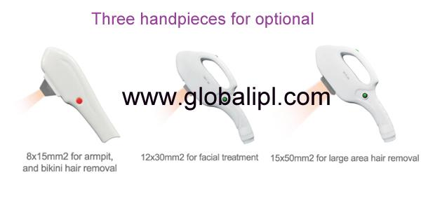 SHR Hair Removal Machine Three Spot Size IPL Handpieces For Option