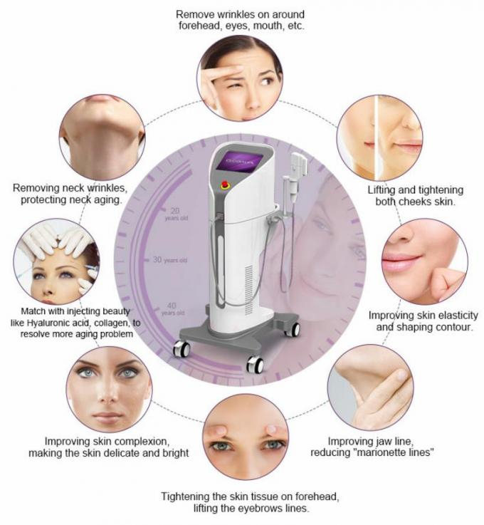 Vertical 5 Cartridges HIFU Beauty Machine For Face Lifting / Wrinkle Removal